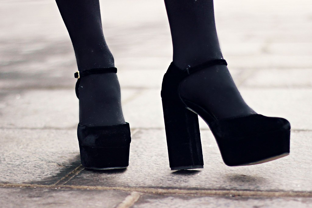 ASOS black velvet platforms