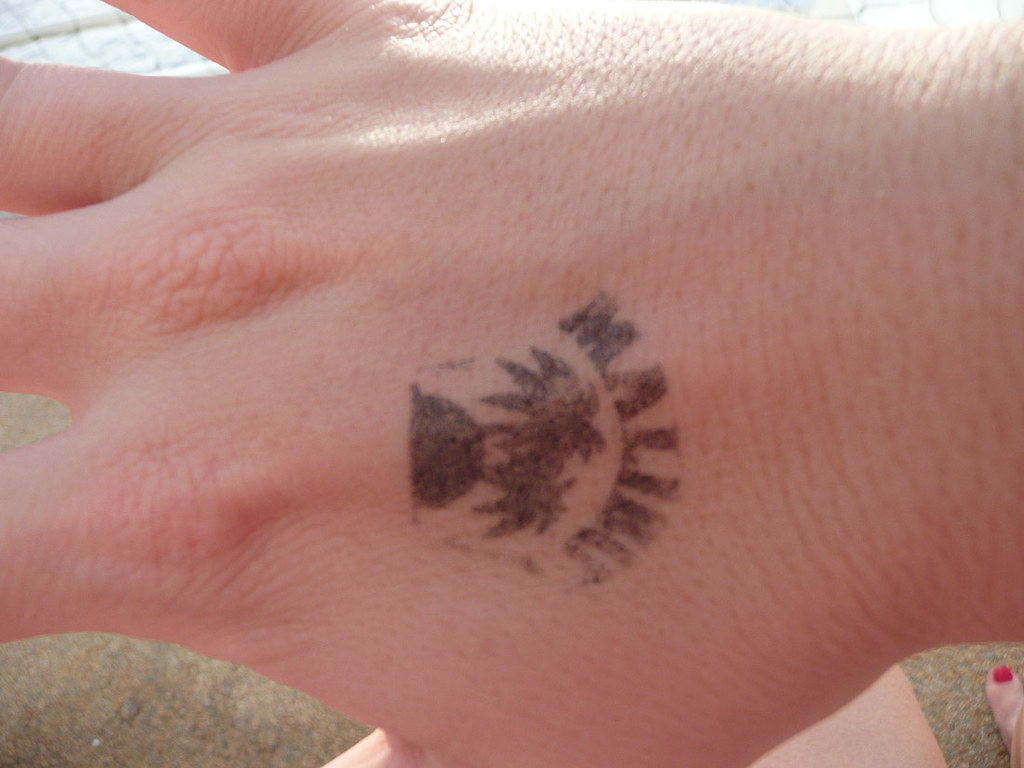 Hand stamp for Malibu Beach