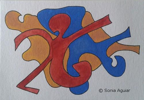 "Doodle Art  Watercolor & Ink Painting ""Emblema #5"""