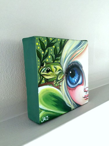 """She Happened Upon a Frog"" Original Painting by Jaz Higgins - Side View"