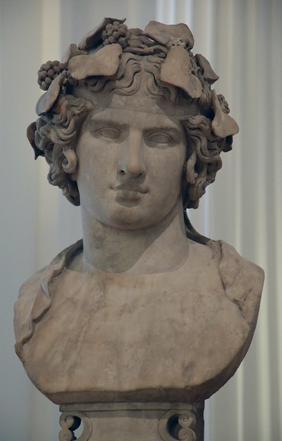 Marble bust of Antinous portrayed here as the reborn god Dionysus, known as Lansdowne Antinous, found at Hadrian's Villa in 1769, c. 130 - 138 AD, Fitzwilliam Museum, Cambridge (UK)