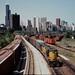 CNW GP-9's at 18th  yard Chicago June 1982 by Mark LLanuza