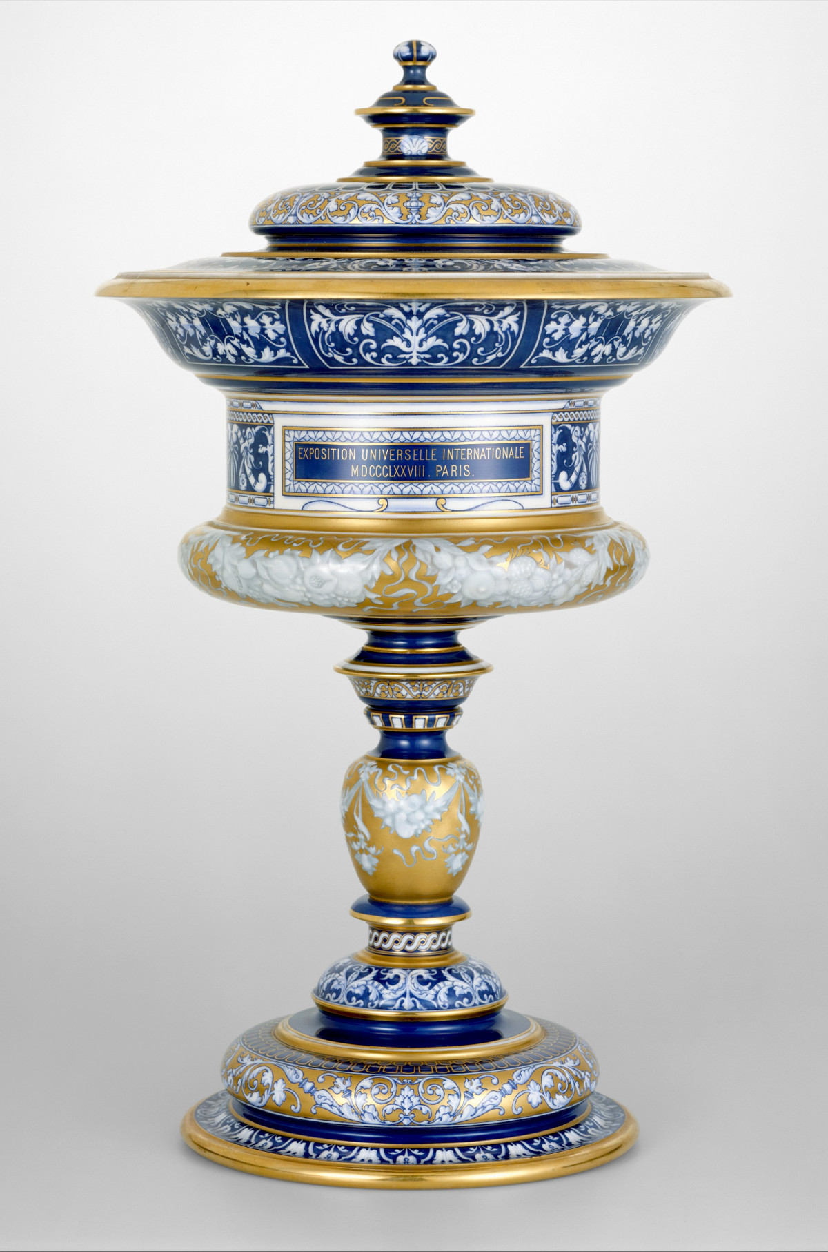 1879 Standing cup with cover. Hard-paste porcelain. metmuseum