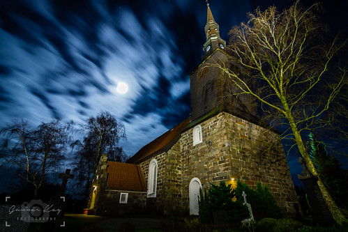 Church and Graveyard in the Moonlight