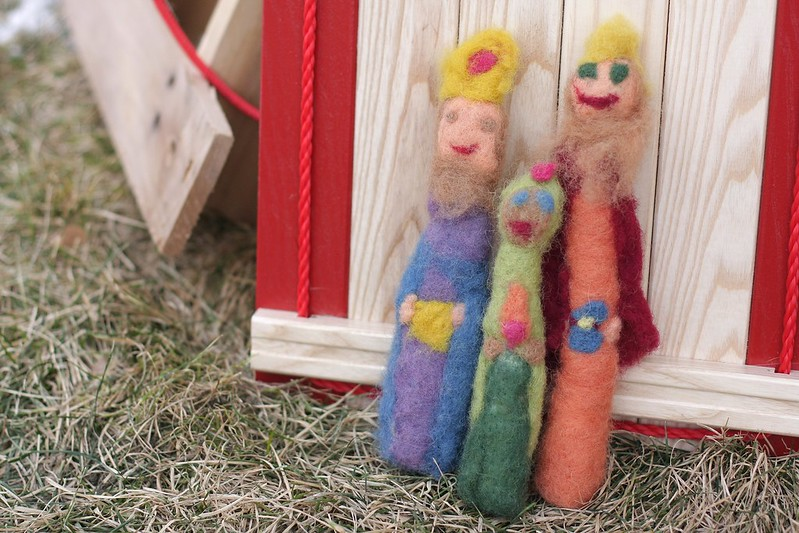 The girls' needlefelted three wise men
