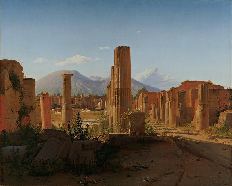 Christen Schjellerup Købke - The Forum at Pompeii with Vesuvius in the Background (1841)