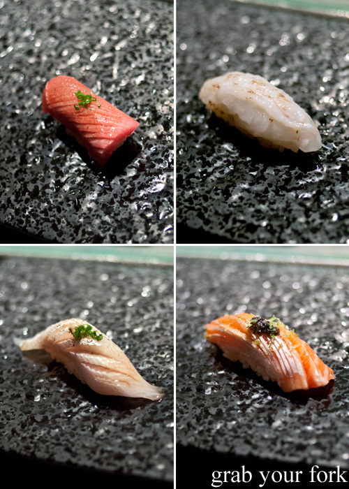 Ootoro tuna belly, aburi scampi, ocean trout and kingfish belly nigiri sushi at Sokyo at The Star, Pyrmont
