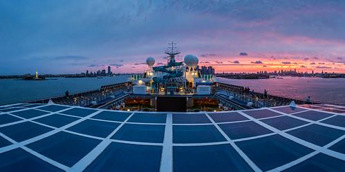new york cruise usa statue sunrise river liberty ship manhattan hudson