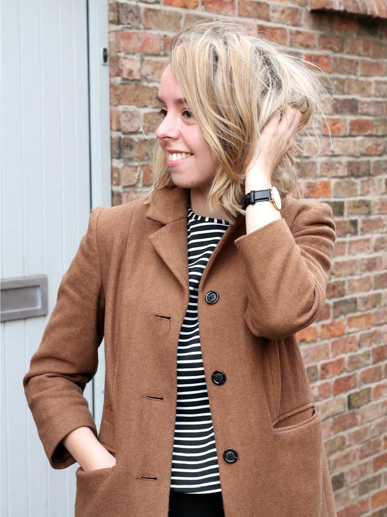 Jumpsuit, breton t-shirt, camel coat | Jazzpad fashion blogger