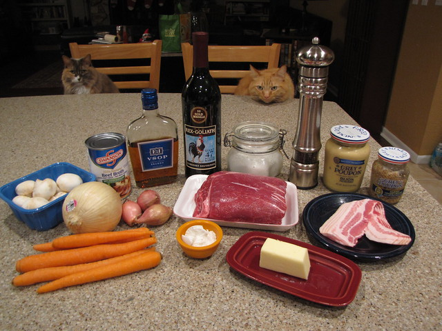 Beef Stew with Brandy & Mustard Ingredients (plus cats)