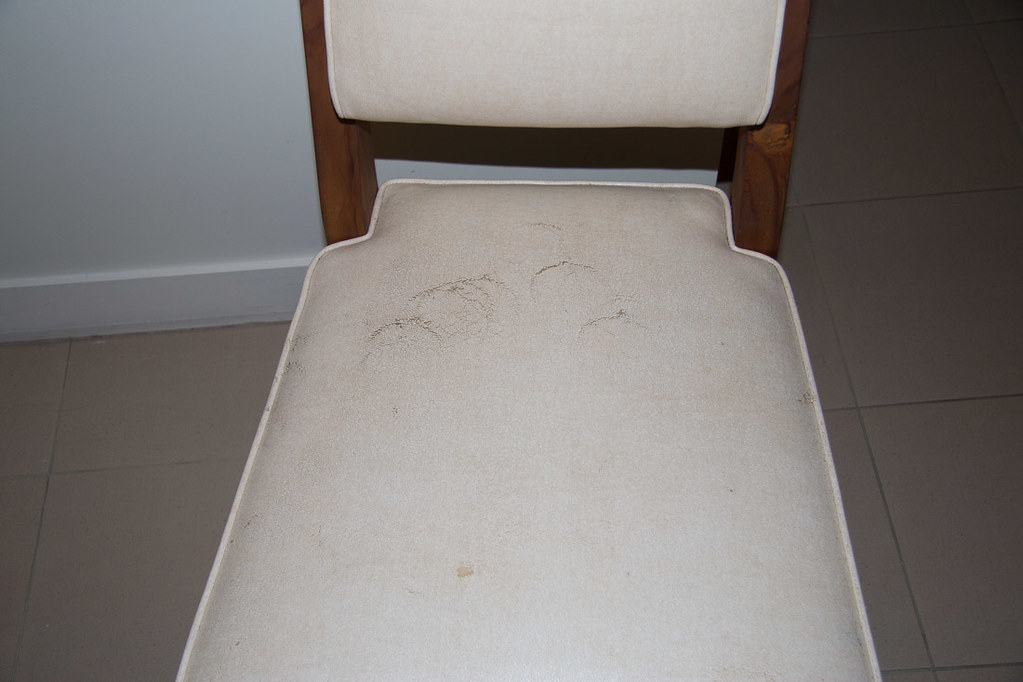 Scuff marks covering chair in hotel room at Casa Marina
