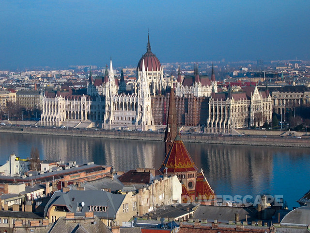 Hungarian Parliament Building from Buda side of Budapest