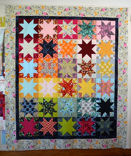 Moonshine stars quilt top