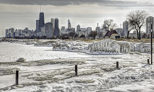 winter chicago ice water architecture illinois lakes skylines fences lakemichigan hdr odc hff chicagolakefront nikkor24120mm fencefriday ourdailychallenge