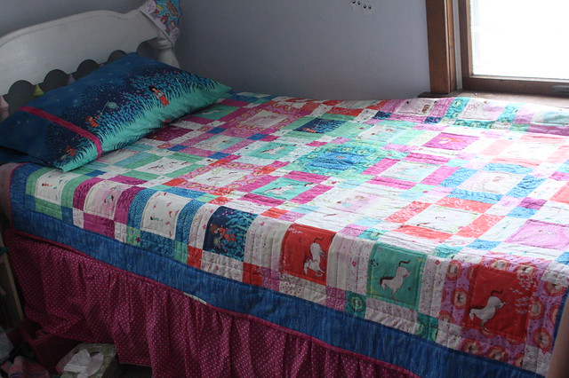 I made a matching pillowcase with the large panel fabric