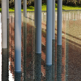 columns in the garden with water