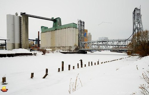city bridge winter snow plant ny newyork cold ice photography frozen geese buffalo industrial factory lift michigan flock formation avenue generalmills firstward