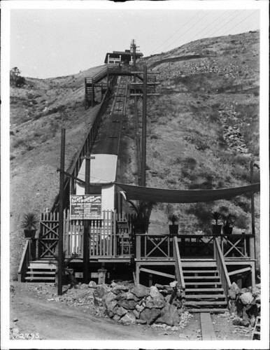 Island Mountain Railway on Santa Catalina Island, an incline cable railway on the side of a hill, 1910 (CHS-2795)