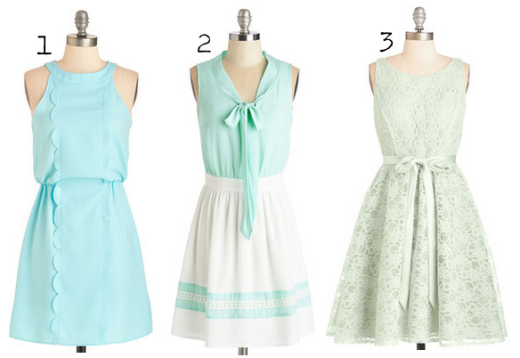 modcloth mint dress