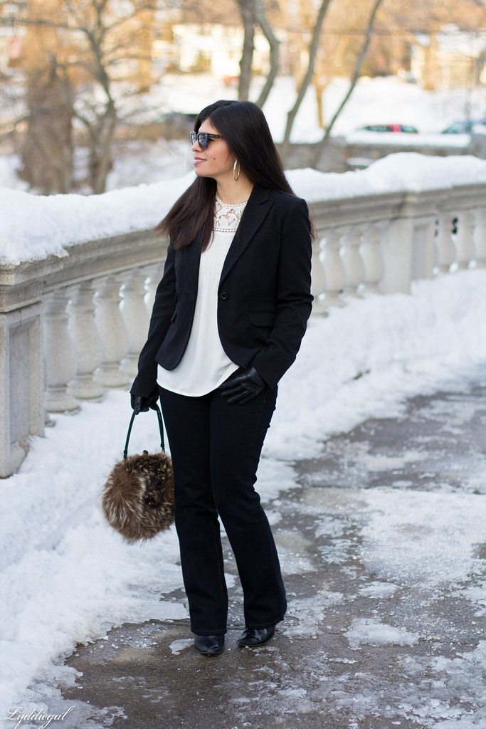 white blouse, black blazer, fur ball bag-1.jpg