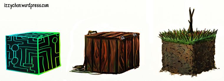 tron box dirt tree grass cubes artrage texture practice
