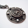 Vintage Heavy Intricate Silvertone Medallion necklace with Knight, Moonstone Glass Cabachons
