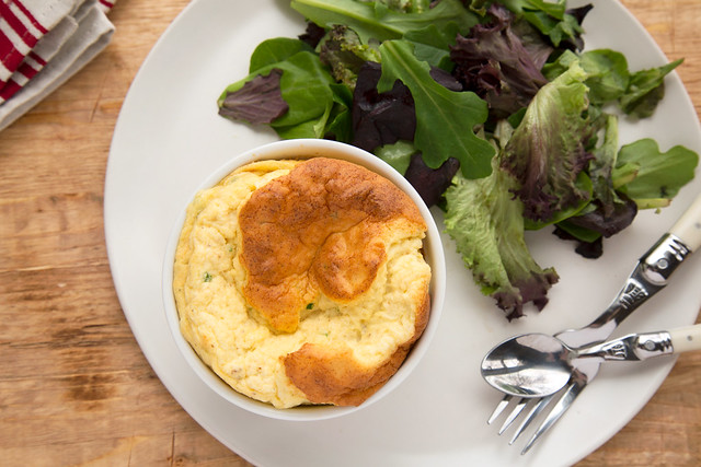 cauliflower and goat cheese souffle with salad