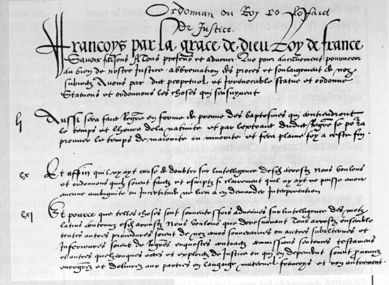 The first page of the Ordinance of Villers-Cotterêts
