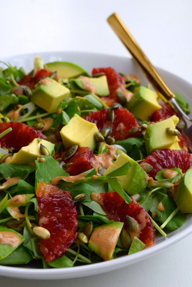 Avocado & Blush Orange Salad with Miso Yogurt Dressing