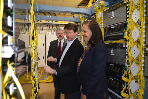 "Michael Stidham, Network Operations Manager for Peoples Rural Telephone Cooperative, leads USDA Under Secretary Lisa Mensah on a tour of PRTC's operations center in McKee, Ky., on March 3, 2015. PRTC recently completed a successful ""fiber-to-the-premise"" broadband project, which was funded in part with loan and grant funds from USDA's Broadband Initiatives Program. As a result of the project, PRTC was awarded with a Smart Rural Community designation from the National Telephone Cooperative Association."