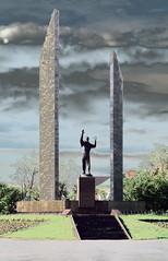 Россия. Оренбург. Памятник Юрию Гагарину. 1 июня 2008 года.   Russia. Orenburg. Monument to Yuriy Gagarin. June 1, 2008