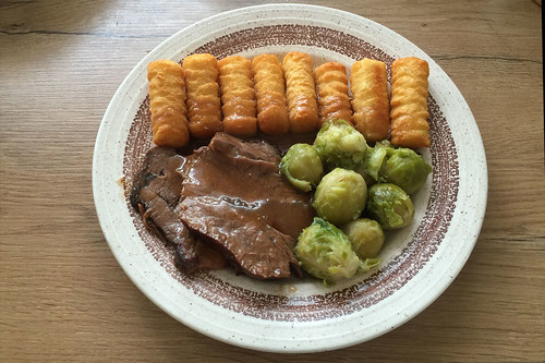 Marinated beef roast with brussels sprouts & croquettes / Sauerbraten mit Rosenkohl & Kroketten