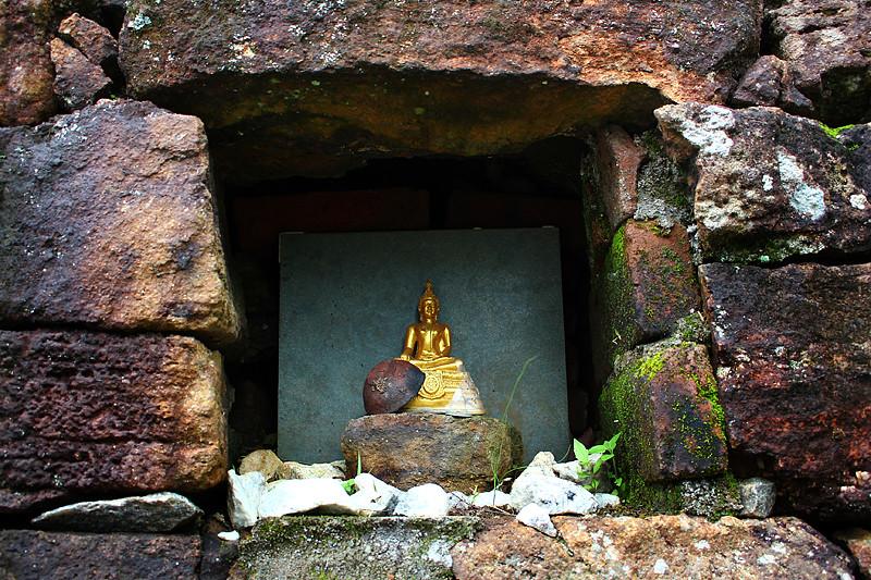 A miniature Buddha statue