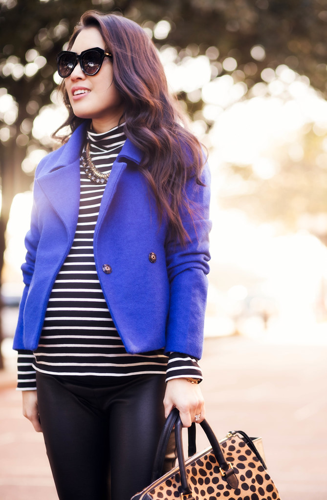 https://cuteandlittle.com | petite fashion blog | maternity | cobalt blue short wool coat, black white striped turtleneck, leather pants, cobalt blue pumps, clare v. sandrine leopard satchel | maternity | fall winter outfit