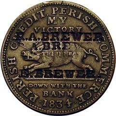 Brewer Counterstamp on 1834 Hard Times token obverse
