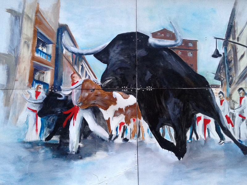 Running of the Bulls Tile Painting