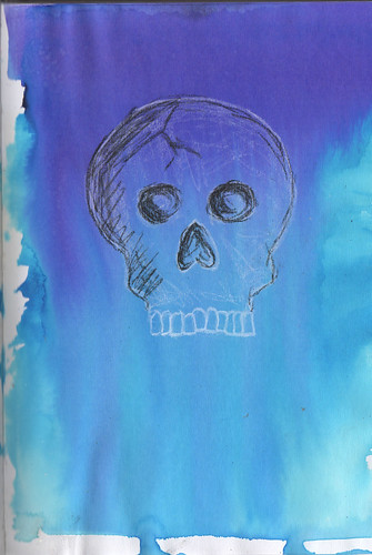 watercolourandcharcoalskull