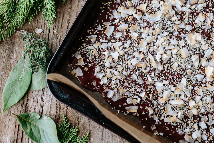 Spicy Coconut Sesame Chocolate Bark