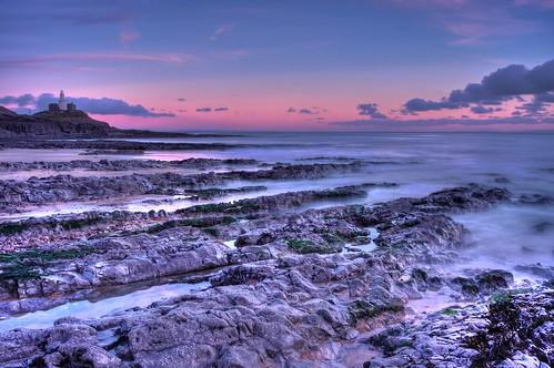 ocean longexposure sunset lighthouse swansea southwales wales clouds rocks mumbles braceletbay mumbleshead