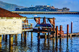 Boat House on Fisherman's Wharf with view of Alcatraz Island in HDR - San Francisco CA