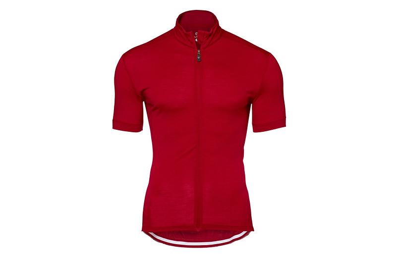 mens short sleeve merino alpine jersey claret front