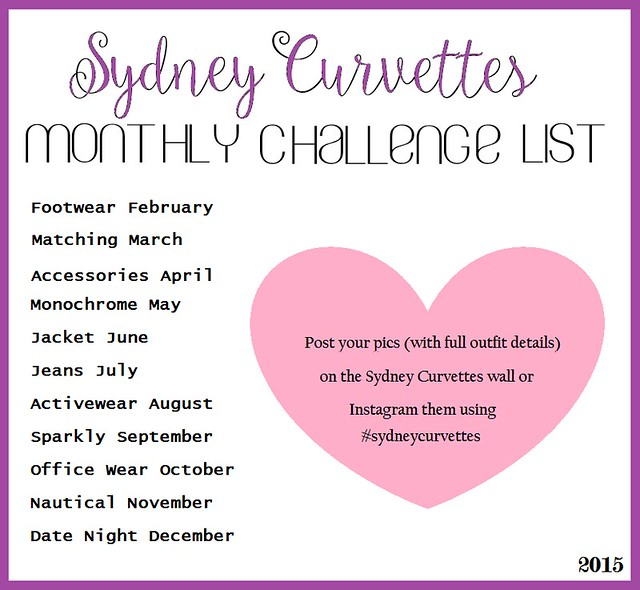 Sydney Curvettes Monthly Fashion Challenge List 2015