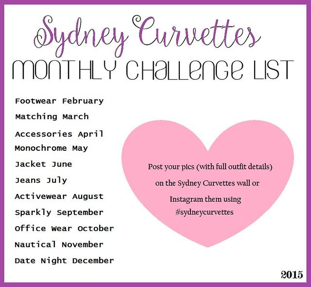 Sydney Curvettes Monthly Fashion Challenge List 2015