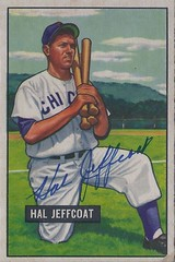 1951 Bowman - Hal Jeffcoat #211 (Pitcher / Outfielder) (b: 6 Sep 1924 - d: 30 Aug 2007 at age 82) - Autographed Baseball Card (Chicago Cubs)