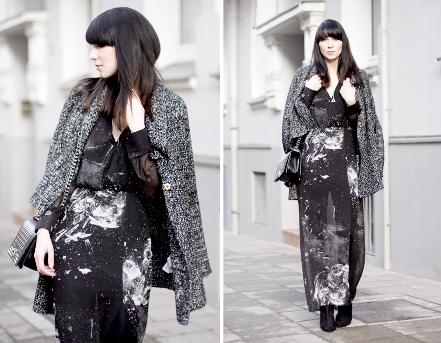 long maxi dress black glass shattered print space hipster cool sexy brunette bangs french german heels lace sheer ricarda schernus blog modeblog fashionblog cats & dogs hannover berlin girl 5