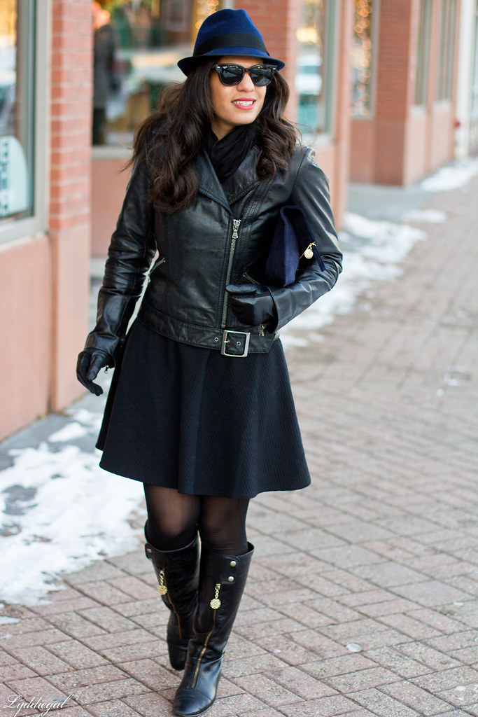 LBD, Leather jacket, Navy fedora-2.jpg