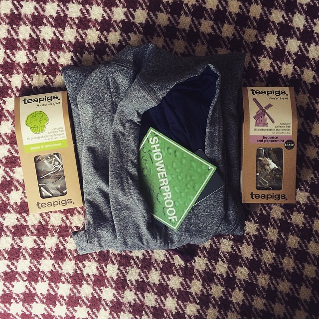 Yesterday was a good post day. Thank you @mountainwarehouse for this genius showerproof hoodie and I'm so relieved to be back in stock with an old and a new @teapigs favourite.