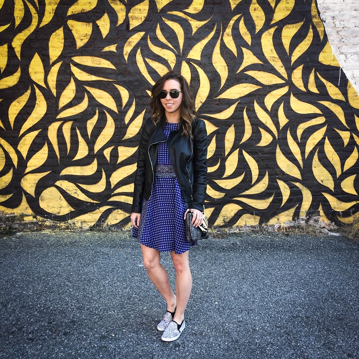 fashion blogger. va darling. a viza style. printed silk madewell dress. faux leather zara jacket. joie kidmore shoes. spring outfit. brunch. andrea viza 10