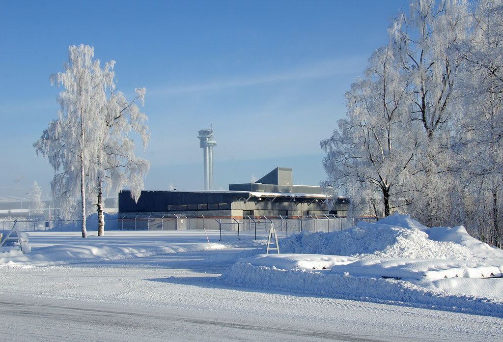 OSL, Oslo Gardermoen Airport in winter snow ...