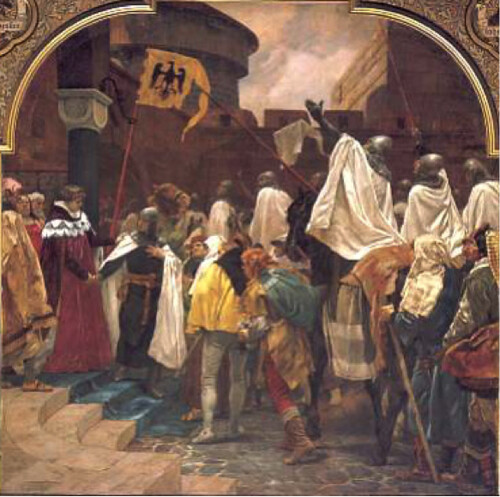Frederick II allows the Teutonic Knights to invade Prussia, by P. Janssen